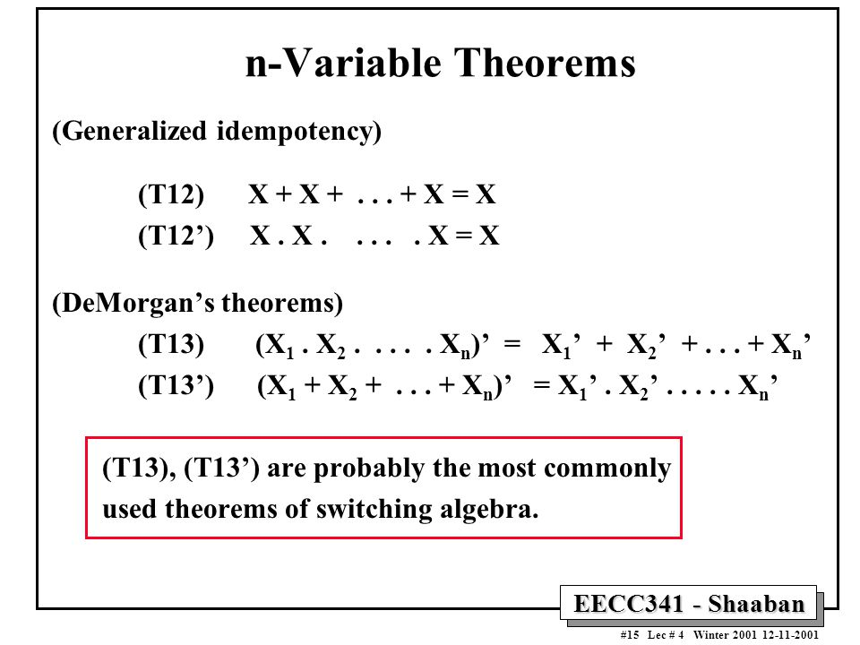 n-Variable Theorems (Generalized idempotency)