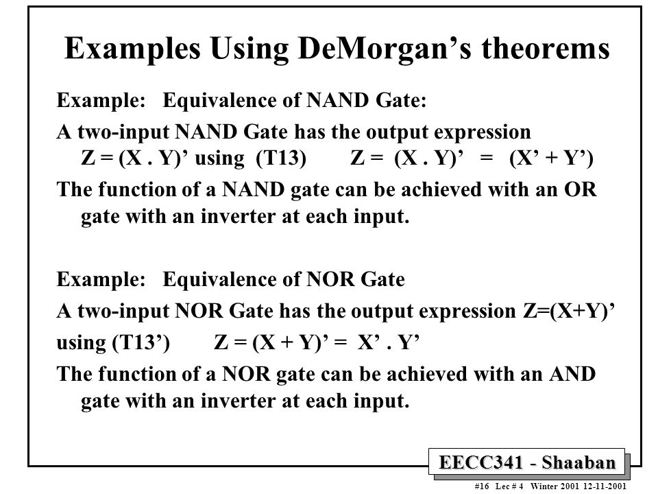 Examples Using DeMorgan's theorems