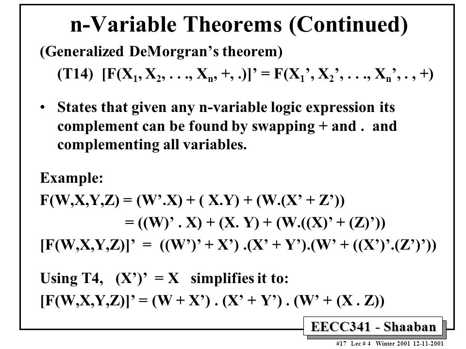 n-Variable Theorems (Continued)