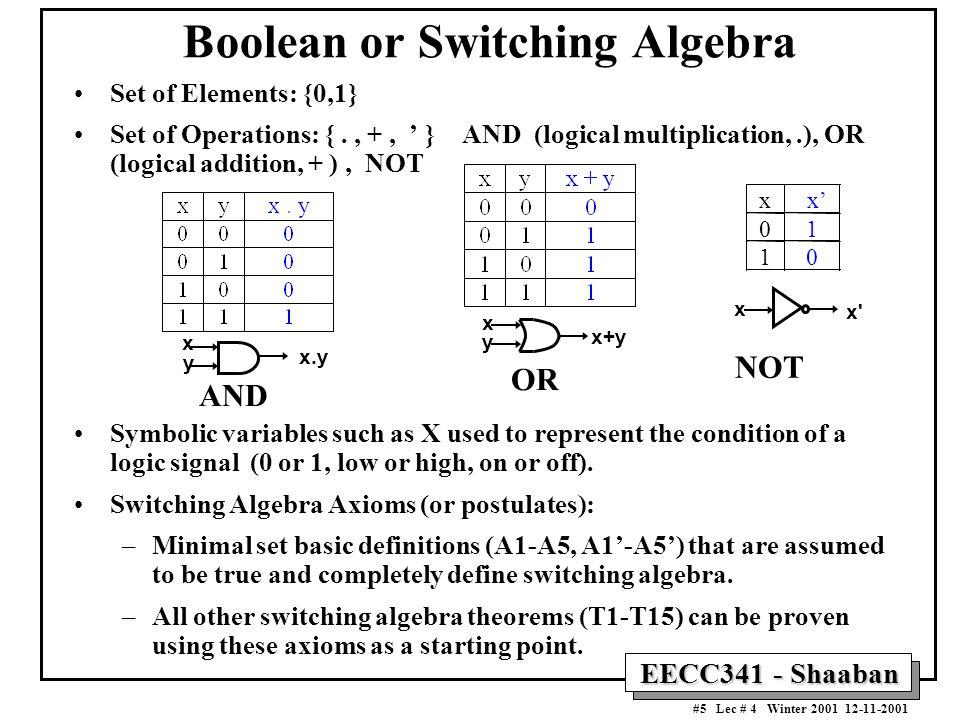 Boolean or Switching Algebra