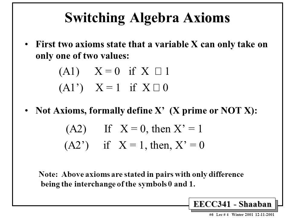Switching Algebra Axioms