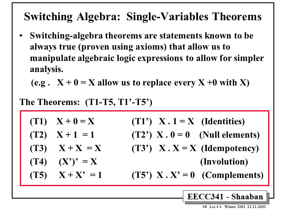 Switching Algebra: Single-Variables Theorems
