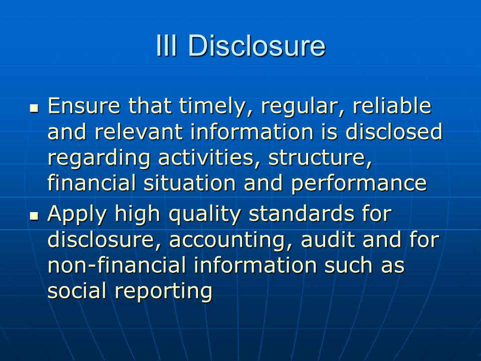 III Disclosure
