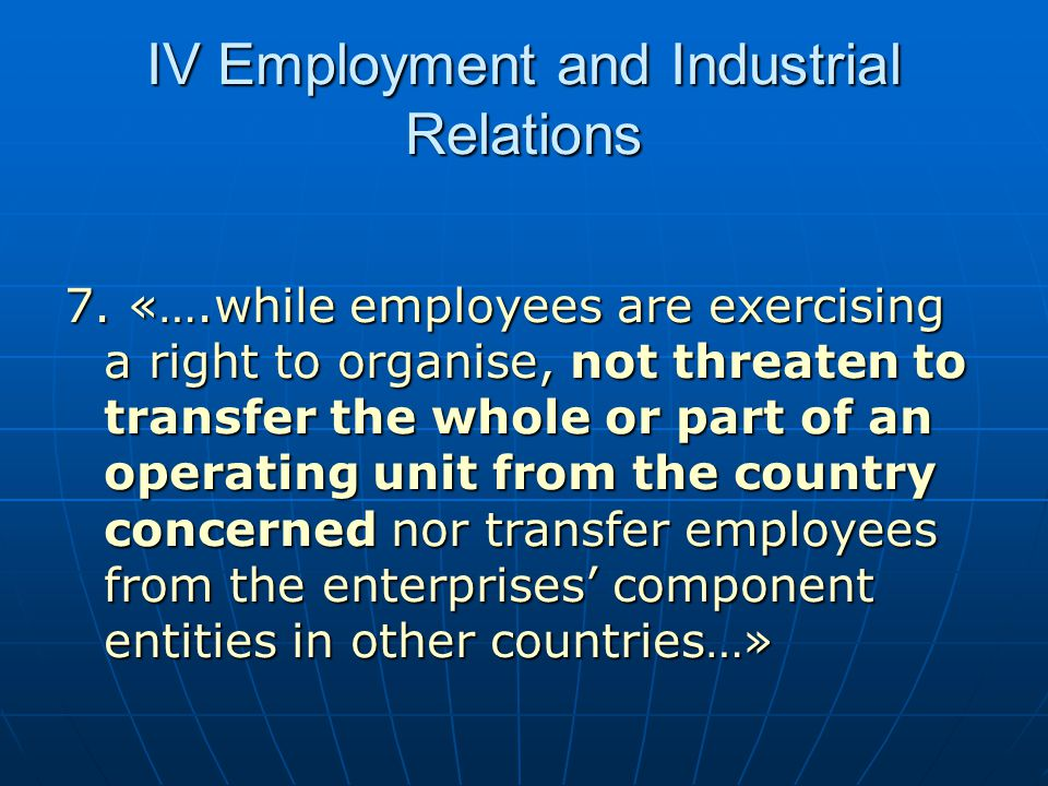 IV Employment and Industrial Relations
