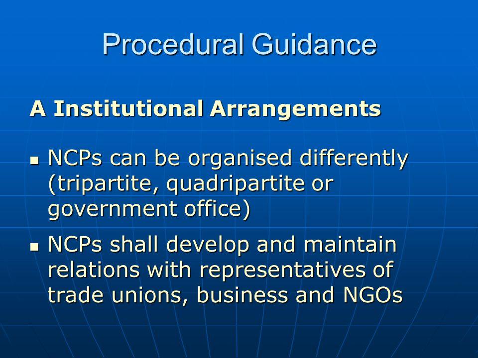 Procedural Guidance A Institutional Arrangements