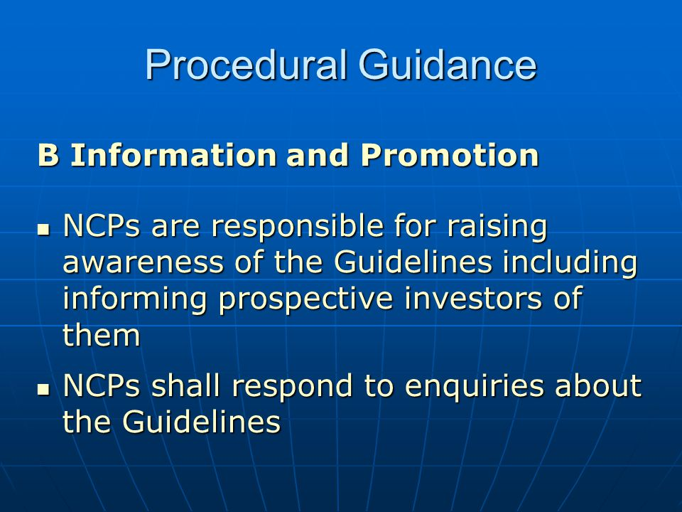 Procedural Guidance B Information and Promotion