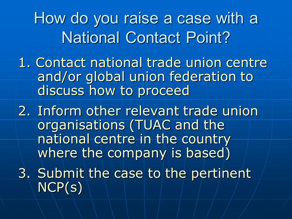 How do you raise a case with a National Contact Point