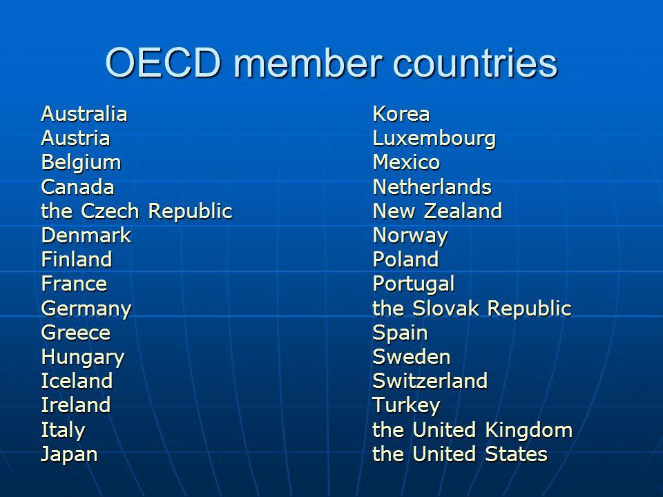 OECD member countries Australia Korea Austria Luxembourg