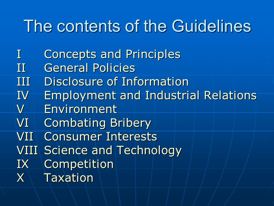 The contents of the Guidelines