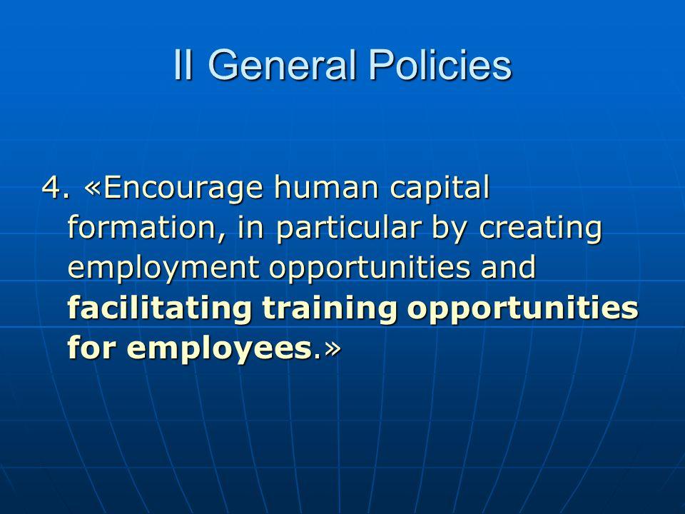 II General Policies
