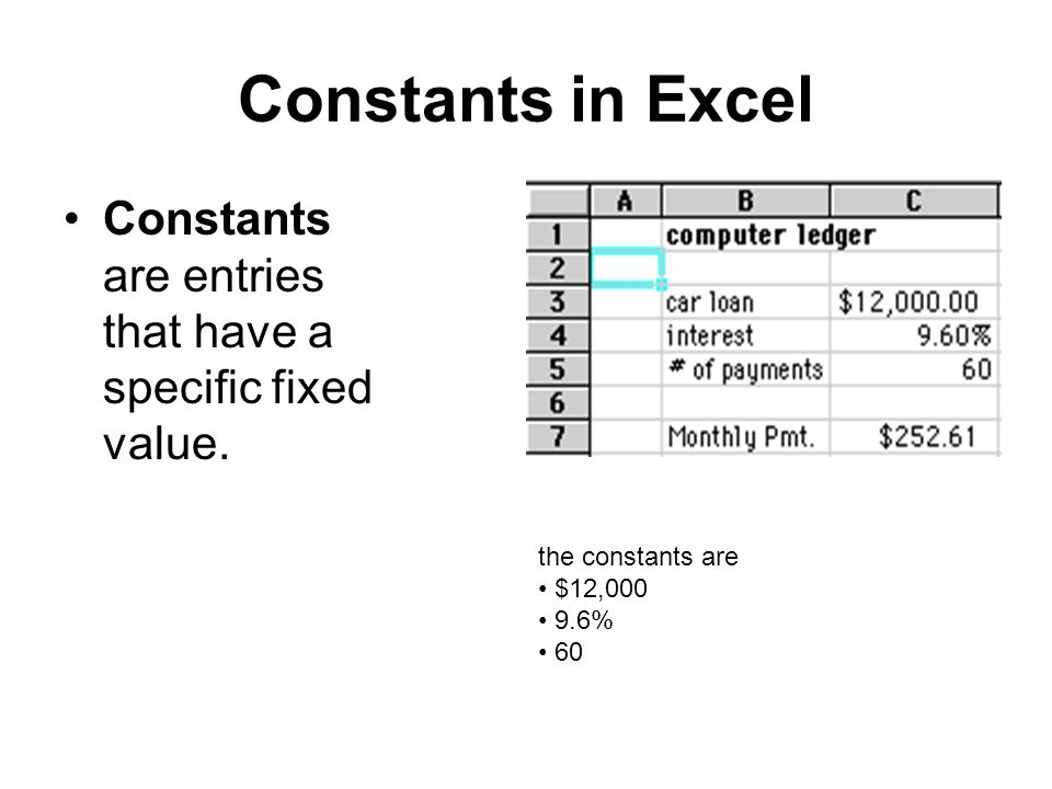 Constants in Excel Constants are entries that have a specific fixed value. the constants are. $12,000.