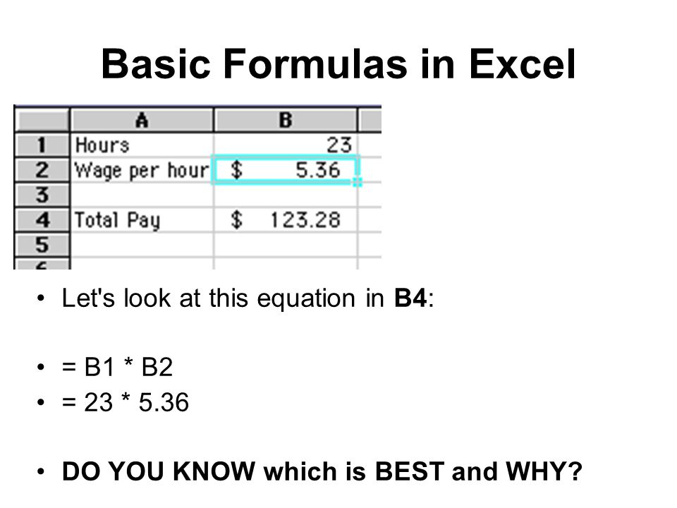Basic Formulas in Excel