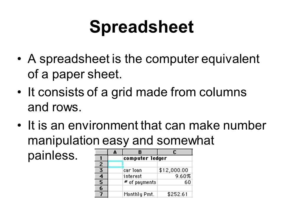 Spreadsheet A spreadsheet is the computer equivalent of a paper sheet.