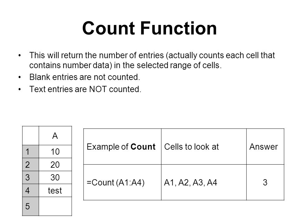 Count Function This will return the number of entries (actually counts each cell that contains number data) in the selected range of cells.