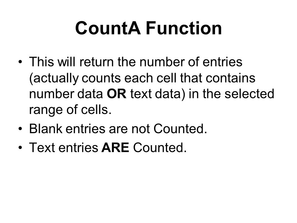 CountA Function