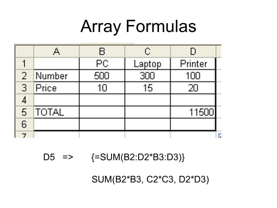 Array Formulas D5 => {=SUM(B2:D2*B3:D3)} SUM(B2*B3, C2*C3, D2*D3)