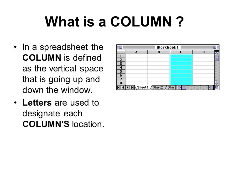 What is a COLUMN In a spreadsheet the COLUMN is defined as the vertical space that is going up and down the window.