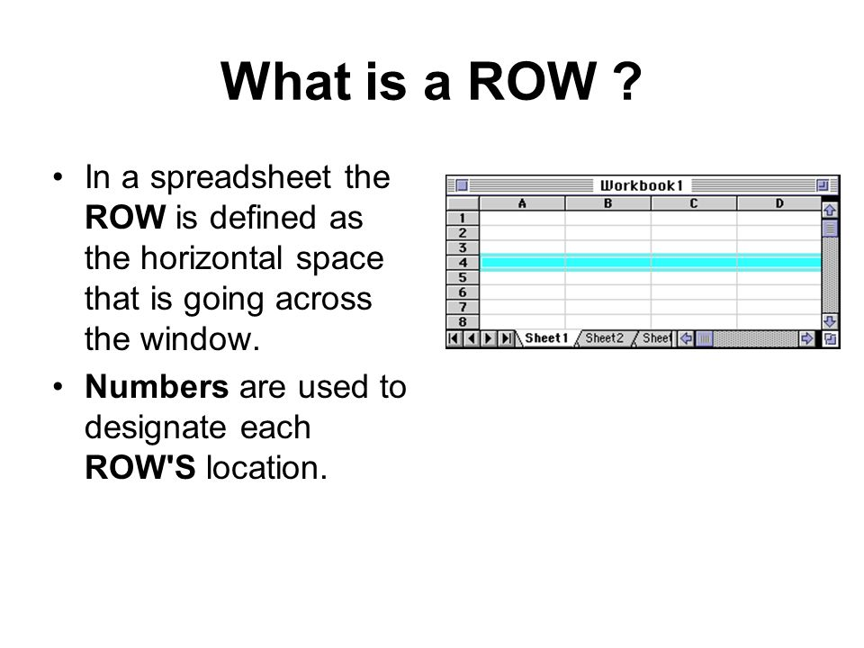 What is a ROW In a spreadsheet the ROW is defined as the horizontal space that is going across the window.