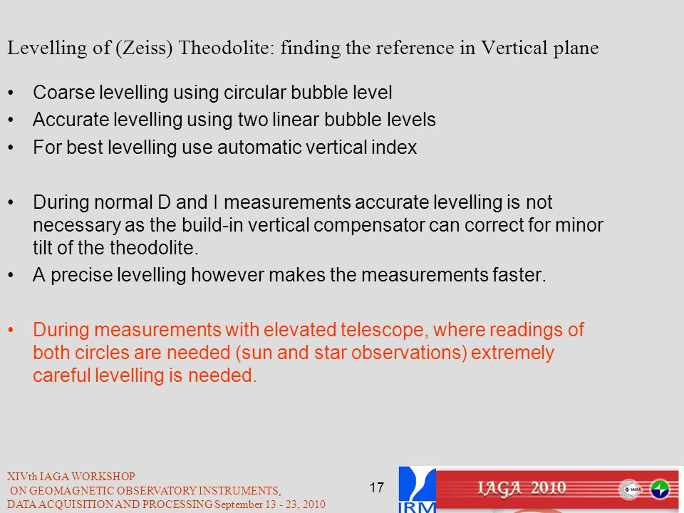 Levelling of (Zeiss) Theodolite: finding the reference in Vertical plane