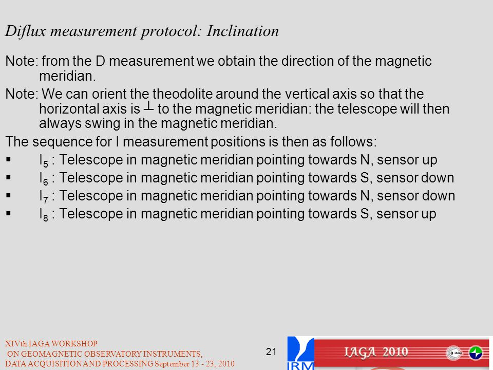 Diflux measurement protocol: Inclination