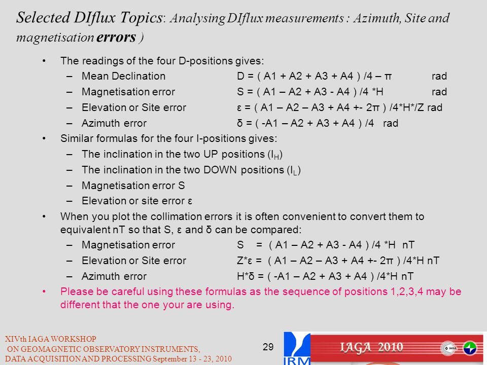 Selected DIflux Topics: Analysing DIflux measurements : Azimuth, Site and magnetisation errors )