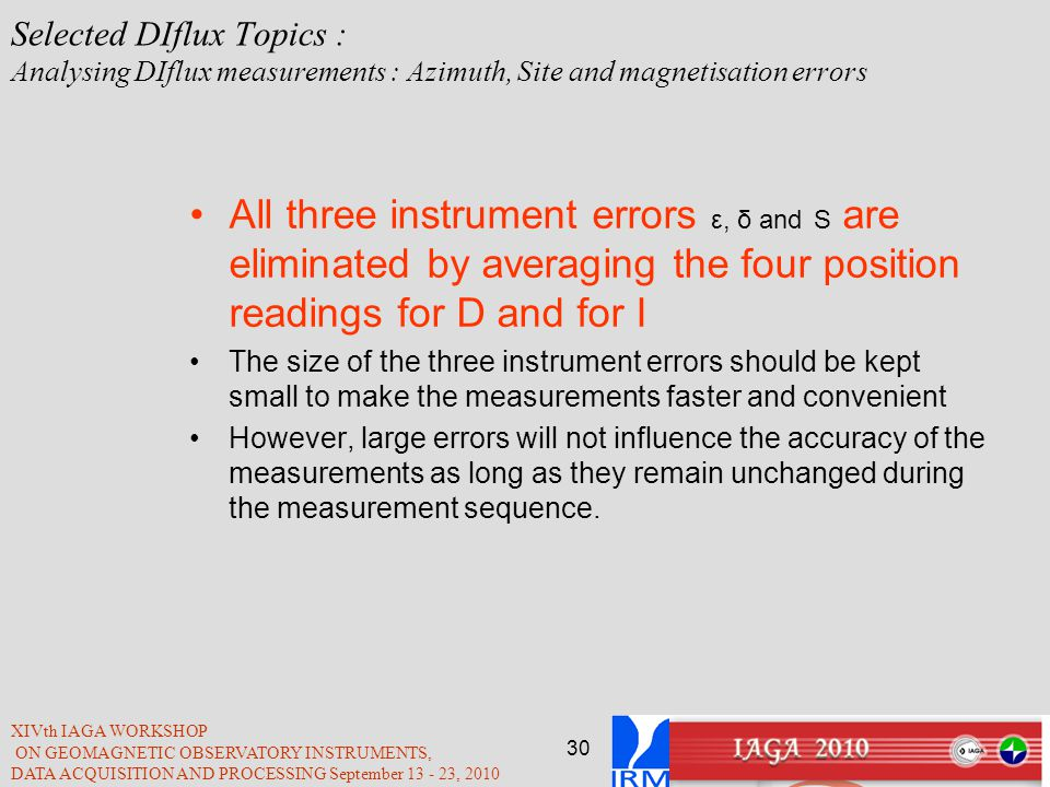 Selected DIflux Topics : Analysing DIflux measurements : Azimuth, Site and magnetisation errors