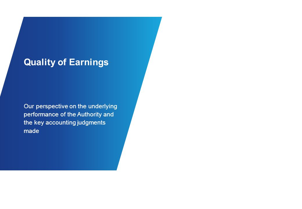 Quality of Earnings Underlying Performance