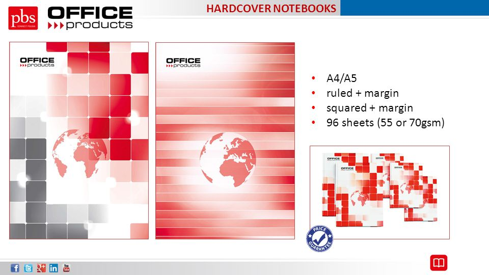 HARDCOVER NOTEBOOKS A4/A5 ruled + margin squared + margin 96 sheets (55 or 70gsm)
