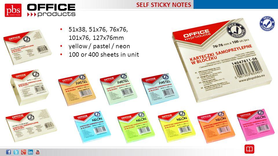 SELF STICKY NOTES 51x38, 51x76, 76x76, 101x76, 127x76mm.