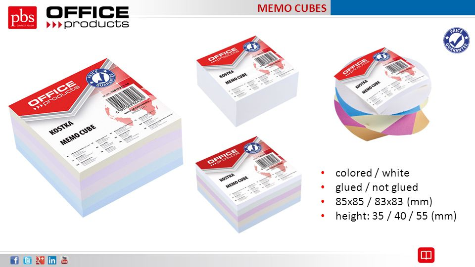 MEMO CUBES colored / white glued / not glued 85x85 / 83x83 (mm) height: 35 / 40 / 55 (mm)