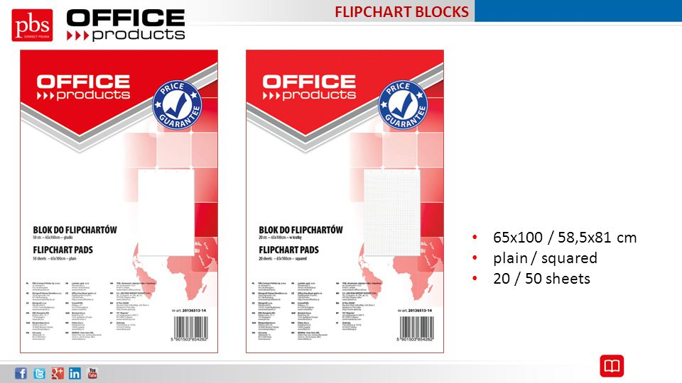 FLIPCHART BLOCKS 65x100 / 58,5x81 cm plain / squared 20 / 50 sheets