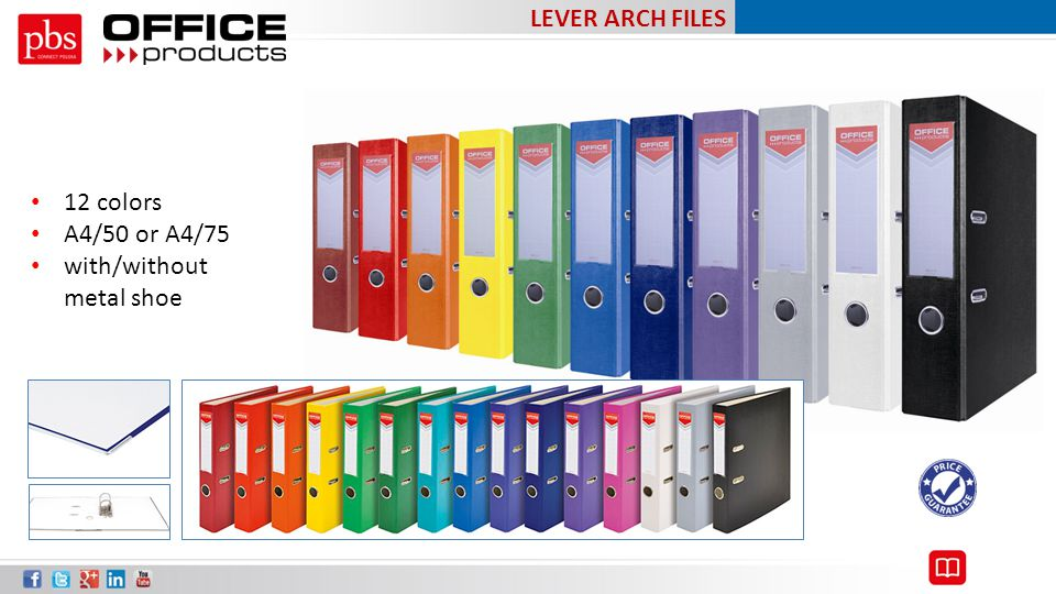 LEVER ARCH FILES 12 colors A4/50 or A4/75 with/without metal shoe