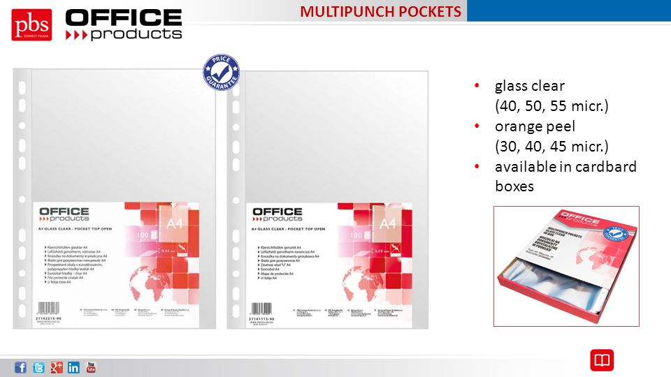 MULTIPUNCH POCKETS glass clear (40, 50, 55 micr.) orange peel (30, 40, 45 micr.) available in cardbard boxes.