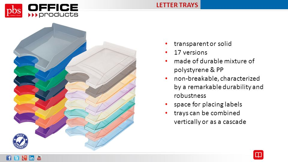 LETTER TRAYS transparent or solid. 17 versions. made of durable mixture of polystyrene & PP.