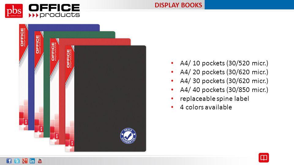 DISPLAY BOOKS A4/ 10 pockets (30/520 micr.) A4/ 20 pockets (30/620 micr.) A4/ 30 pockets (30/620 micr.)