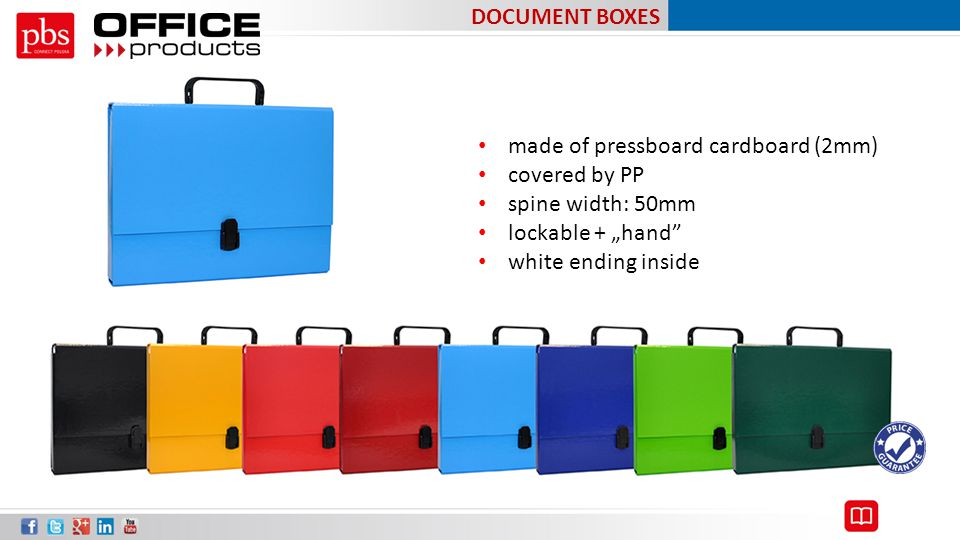 "DOCUMENT BOXES made of pressboard cardboard (2mm) covered by PP. spine width: 50mm. lockable + ""hand"