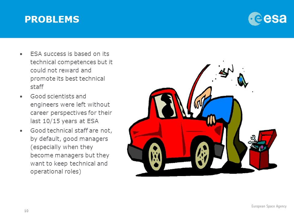 PROBLEMS ESA success is based on its technical competences but it could not reward and promote its best technical staff.