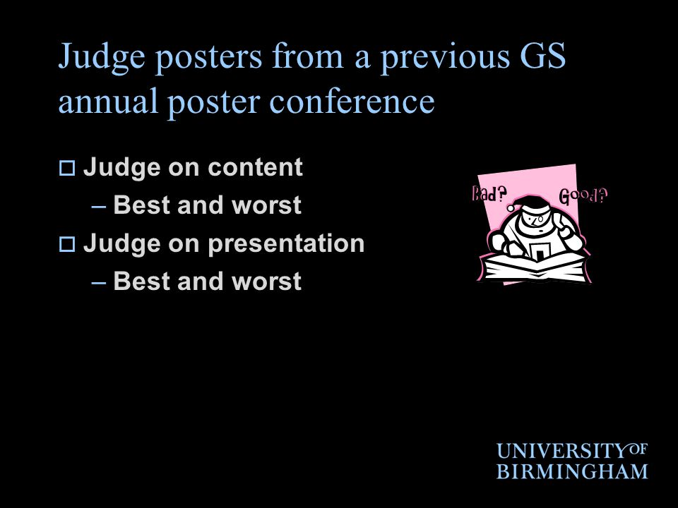 Judge posters from a previous GS annual poster conference