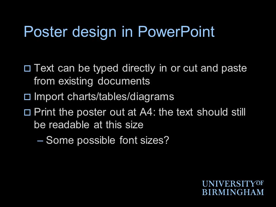 Poster design in PowerPoint
