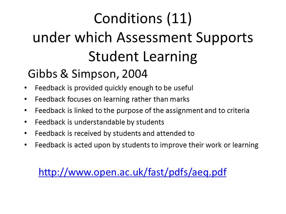Conditions (11) under which Assessment Supports Student Learning