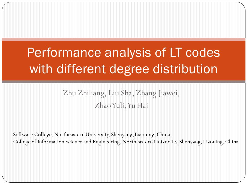 Performance analysis of LT codes with different degree distribution