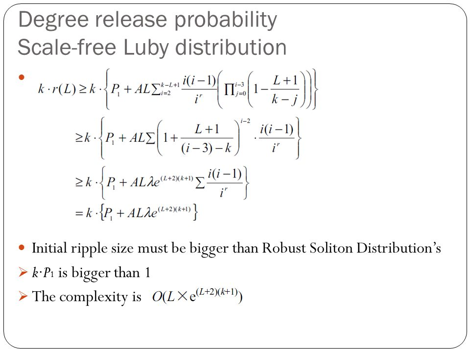 Degree release probability Scale-free Luby distribution