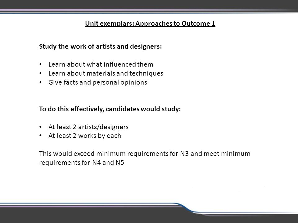 Unit exemplars: Approaches to Outcome 1
