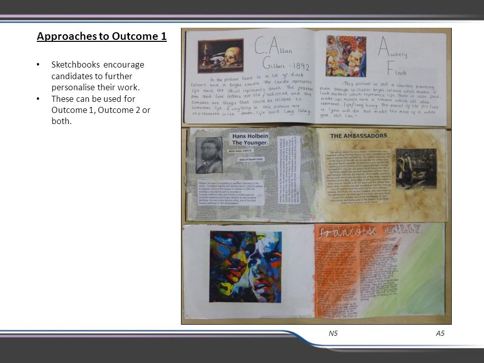 Approaches to Outcome 1 Sketchbooks encourage candidates to further personalise their work. These can be used for Outcome 1, Outcome 2 or both.
