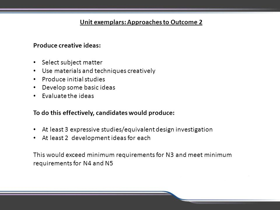 Unit exemplars: Approaches to Outcome 2