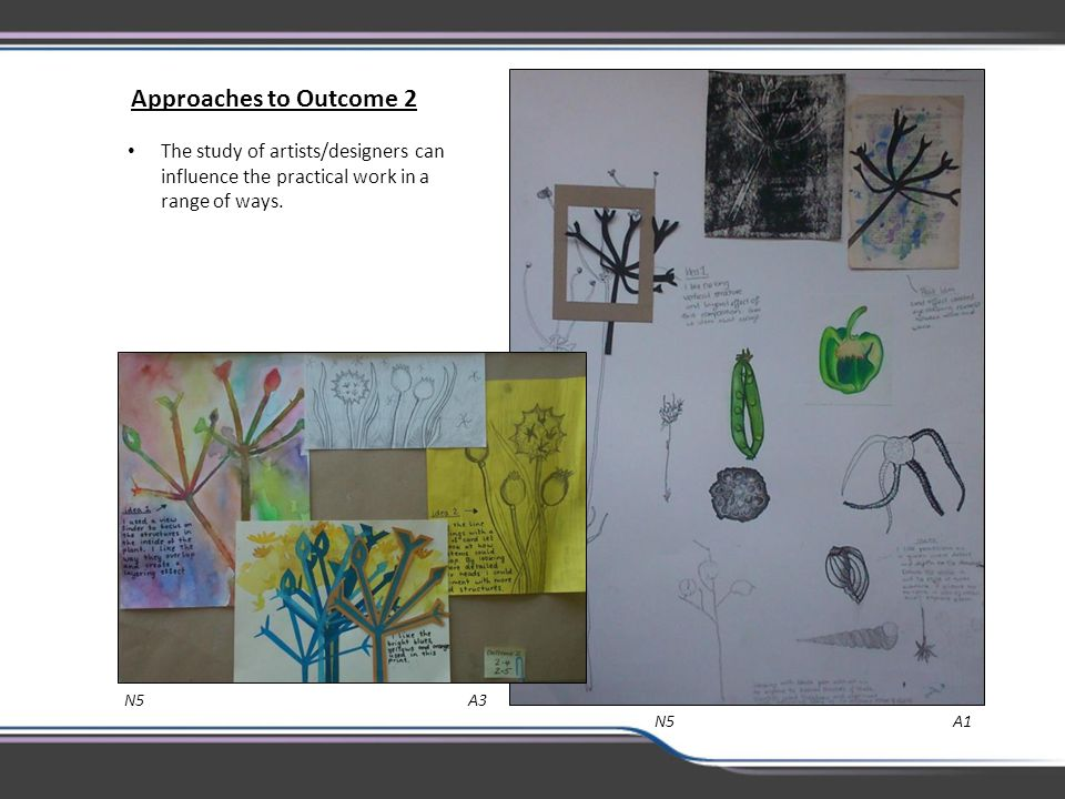 Approaches to Outcome 2 The study of artists/designers can influence the practical work in a range of ways.