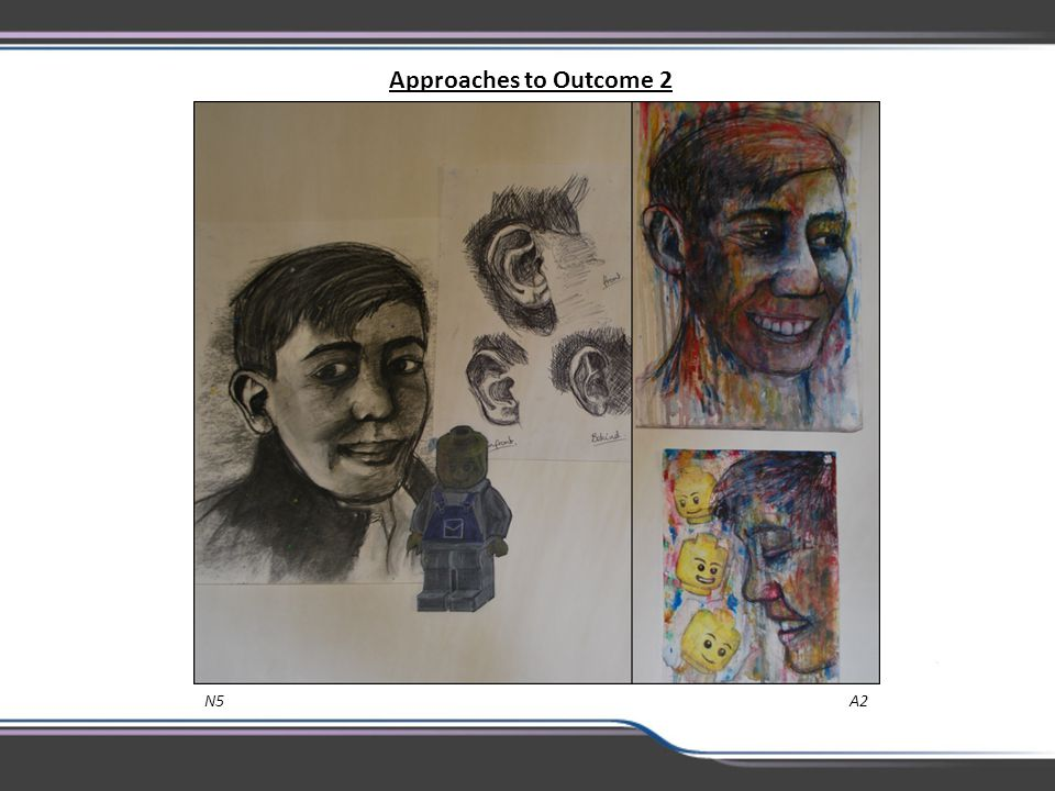Approaches to Outcome 2 This is excellent N5 artwork demonstrating confident drawing and thoughtful use of media.