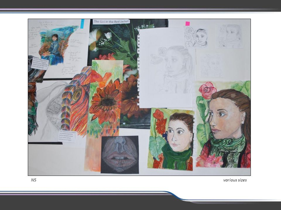 Integration of the art studies and the practical work is a feature of the new qualifications. When done effectively it leads to a fuller understanding and appreciation of the work of artists/designers, and gives a focus to the development of the practical work. In this example we can see that the study of an artist has influenced the development of the theme.