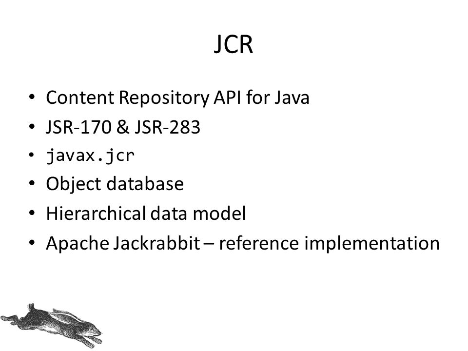 JCR Content Repository API for Java JSR-170 & JSR-283 Object database