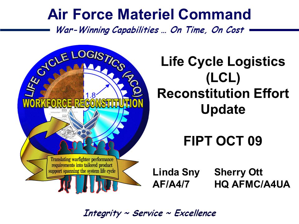 Life Cycle Logistics (LCL) Reconstitution Effort Update FIPT OCT 09
